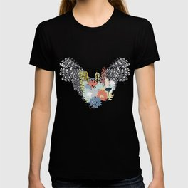 Flying flowers. Hand drawn wings and flowers. Conceptual. Wild at heart. T-shirt