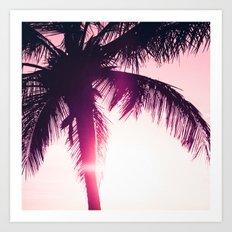 pink palm tree silhouettes kihei tropical nights Art Print