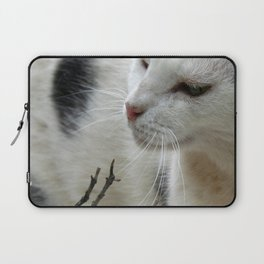Close Up Of A Piebald Cat Laptop Sleeve