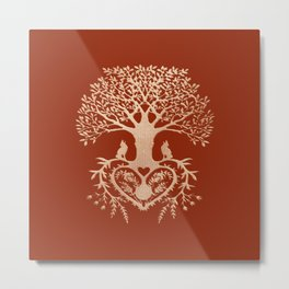 Rose Gold foil Tree of Life with Heart Roots Metal Print