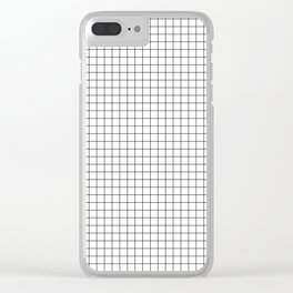White Grid Black Line Clear iPhone Case