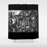 robocop Shower Curtains featuring Robocop 1987 v 2014 by Jamie Briggs