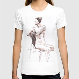 Nude model, life sketch T-shirt