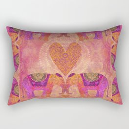 Elephants in Love Heart Art Rectangular Pillow