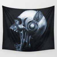 headphones Wall Tapestries featuring Skull & Headphones by Courtney Averett
