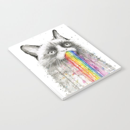 Grumpy Rainbow Cat Watercolor Animal Meme Geek Art Notebook