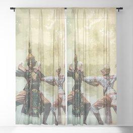 Ramayana Warriors Sheer Curtain
