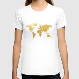 World Map Gold Foil T-shirt