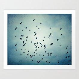 Birds Flying in Sky, Blue Nature Photography, Bird Flock Fly Dark Blue Art Print