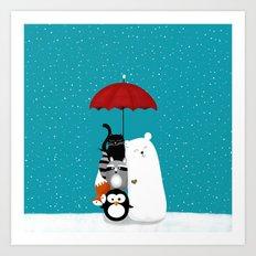 Umbrella party Art Print