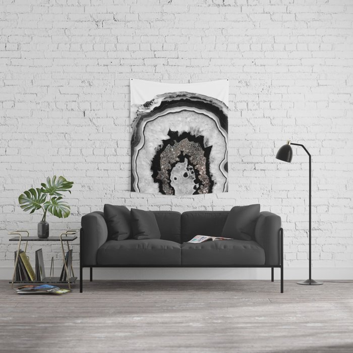 Gray Black White Agate with Silver Glitter #1 #gem #decor #art #society6 Wall Tapestry
