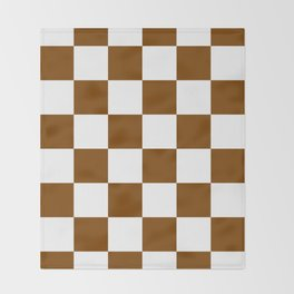 Large Checkered - White and Chocolate Brown Throw Blanket