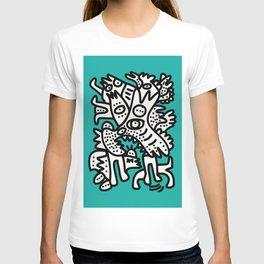 Green Acqua Street Art Black and White Creatures T-shirt