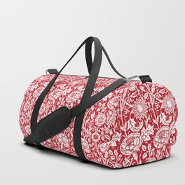 "William Morris Floral Pattern | ""Pink and Rose"" in Red and White Duffle Bag"