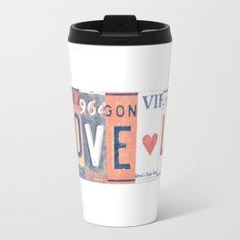 LOVE LA License Plate Art Metal Travel Mug