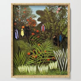 Exotic Jungle Landscape with Monkeys and Birds by Henri Rousseau Serving Tray