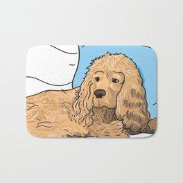 Cute Tan Cocker Spaniel Illustration Bath Mat