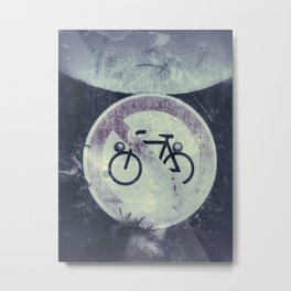 No cycling traffic sign - old and weathered with grunge effect Metal Print