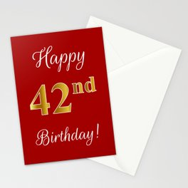 """Elegant """"Happy 42nd Birthday!"""" With Faux/Imitation Gold-Inspired Color Pattern Number (on Red) Stationery Cards"""