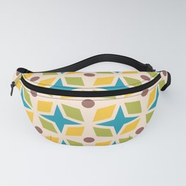 Mid Century Modern Abstract Star Dot Pattern 441 Yellow Brown Turquoise Chartreuse Fanny Pack