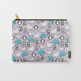 Llama, Unicorn, Narwhal, Panda, Penguin, Hippo, Tween Art, Purple Print, Cute Animal Illustration Carry-All Pouch