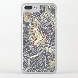 Vienna city map engraving Clear iPhone Case