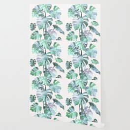 Delicate Monstera Blue And Green #society6 Wallpaper