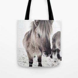 snowy Icelandic horse bw Tote Bag