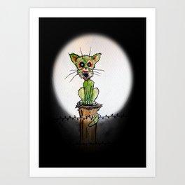 full moon zombie cat Art Print