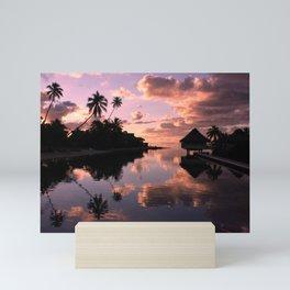 Sunset and water reflection on sea Mini Art Print
