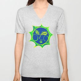 Smiling Green Sun with Blue Face Unisex V-Neck