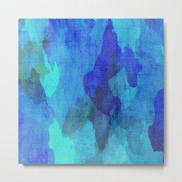Abstract Cobalt and Aqua Blue Digital Watercolor Metal Print