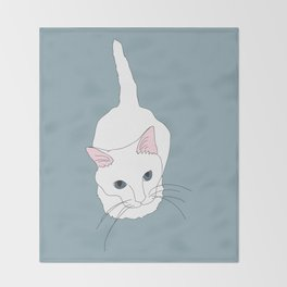 Kitty cat Illustrated Print White Pink Blue Throw Blanket