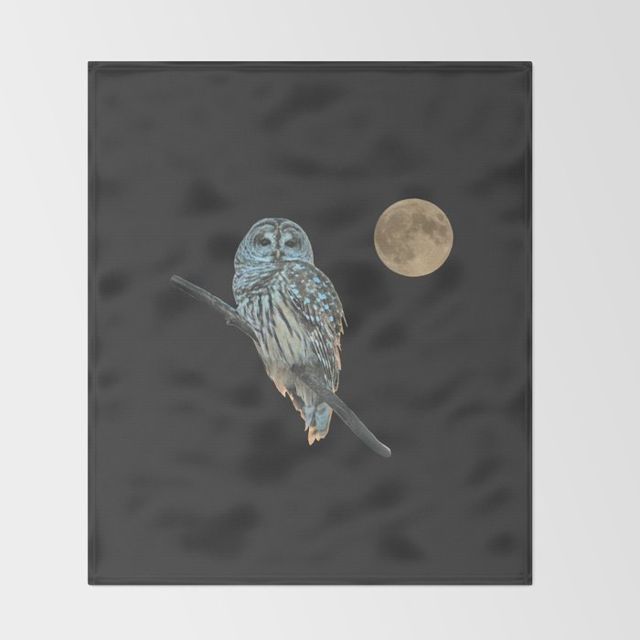 Owl, See the Moon (sq Barred Owl) Throw Blanket