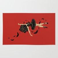black swan Area & Throw Rugs featuring Black Swan by Enkel Dika