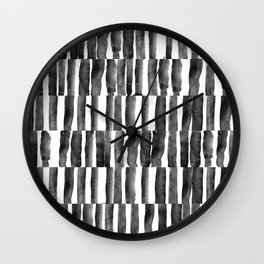 Black and White watecolor brush strokes Wall Clock