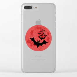 Vampire Bats Against The Red Moon Clear iPhone Case