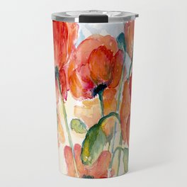 Tangerine Orange Poppy field WaterColor by CheyAnne Sexton Travel Mug