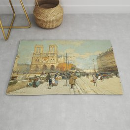 Figures on a Sunny Parisian Street, Notre Dame by Eugene Galien Laloue Rug