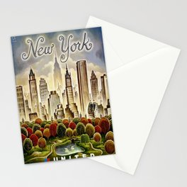 Vintage New York Central Park United Airlines Advertisement Poster Stationery Cards