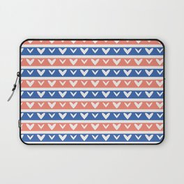 1950s Style Retro Love Heart Stripes Seamless Pattern Laptop Sleeve