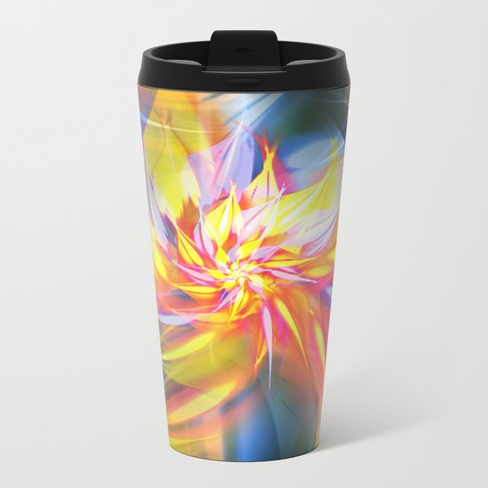 Fractal Flower Metal Travel Mug