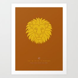 Leo Zodiac / Lion Star Sign Poster Art Print