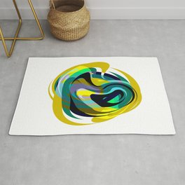 Orb, Abstract geometric Print in Blues Chartreuse & yellows Rug