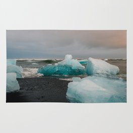 Sunset at the Glacier Lagoon in Iceland Rug