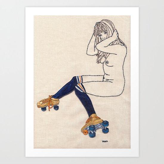 Striped Socks and Roller Skates Art Print