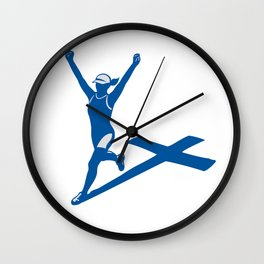 Female Marathon Runner Cross Shadow Wall Clock