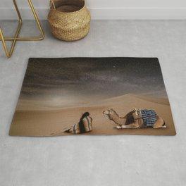 Desert Rest (Woman & Camel Landscape) Rug