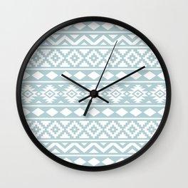 Aztec Essence Ptn III White on Duck Egg Blue Wall Clock