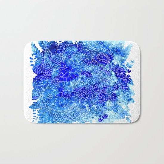 Blue Floral Pattern 02 Bath Mat